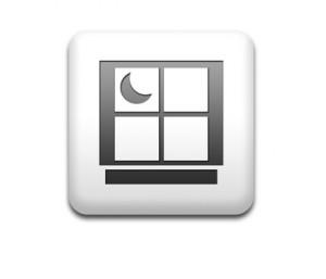 Boton cuadrado blanco simbolo noche